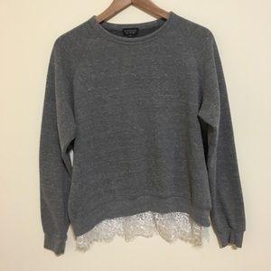 Topshop Gray Lace Sweatshirt 10